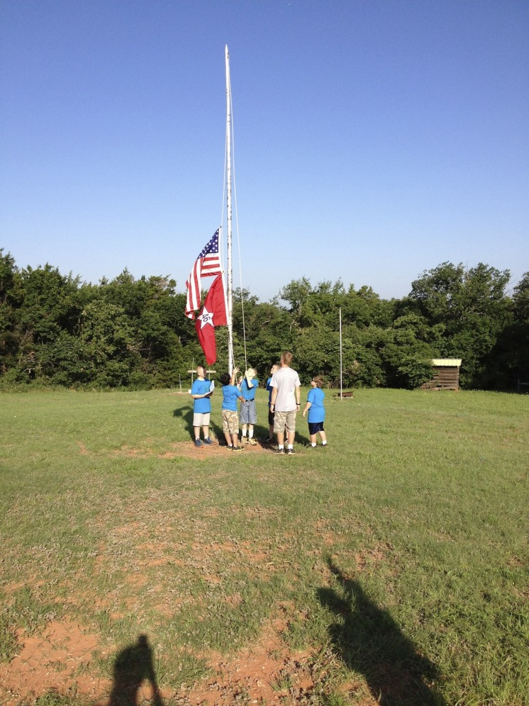 Flag ceremony with the boys