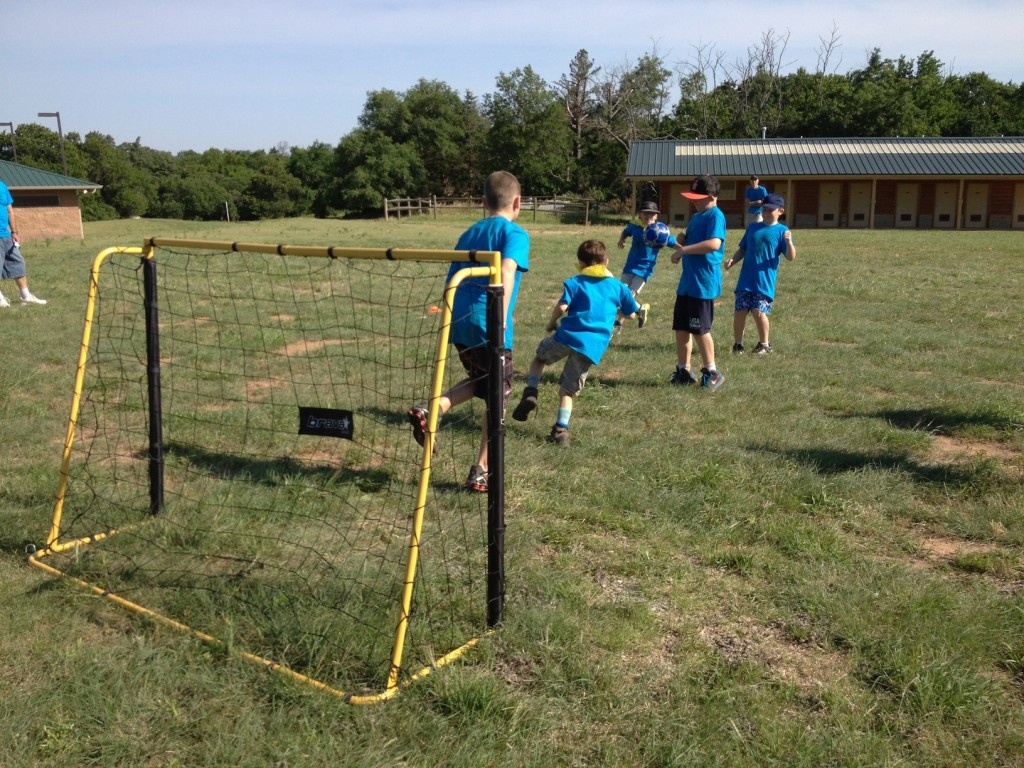 Webelos playing soccer at Sportsman
