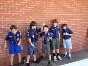 Webelos having a great time at the races!
