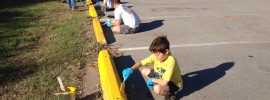 Painting the curbs and culverts